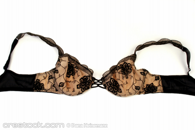 black lacy bra against a white background